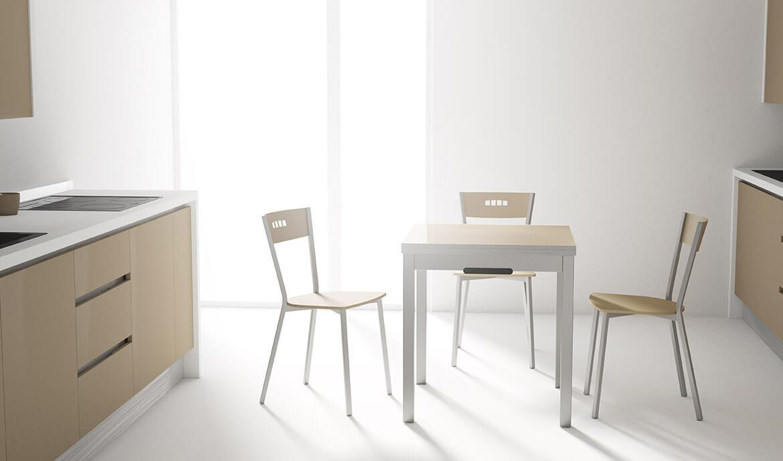 Domino Bianco Opaco - Tavolo salvaspazio da cucina allungabile